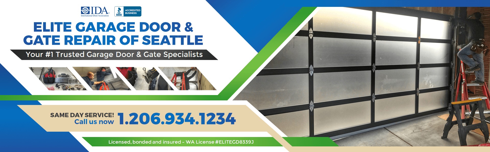 Elite Garage Door & Gate Repair Of Seattle Washington Main Baner • 206.934.1234